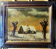 Marked, cozy painting, new, wide, beautiful frame (full m.32.5 X 38)