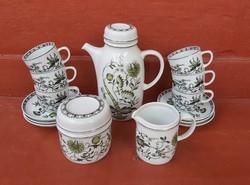 Retro Hollóházi  zöld  hagymamintás kávéskészlet, készlet, csésze,  ritkább minta ,Gyűjtői szépség