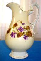 Antik, elegáns szecessziós ibolya mintás tejes kancsó (1890-1910)