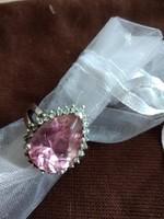 Ezüst gyűrű pink cirkóniával