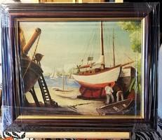 Igazán jól megfestett, jelzett olajfestmény ( teljes m. 36 x 43.5 ), új keretben