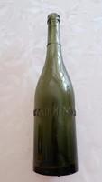 Régi sörös üveg Patzauer Miksa feliratos zöld palack sörösüveg