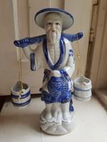 Kínai vízhordó porcelán szobor 20cm-es