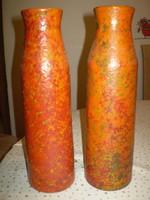 Régi Jelzett iparművész zsűrizett mázas kerámia váza 36x10 cm.
