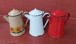 Zománcos kávéskannák,kanna,teás, nosztalgia darabok, napraforgós, egyben eladók