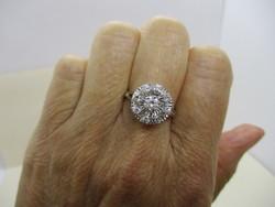 Ritka gyönyörű antik art deco fehér arany gyűrű 0,7ct VVS gyémánt kövekkel