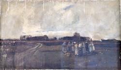 Ismeretlen olaj vászon festmény 75cmx125cm