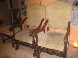 Neoreneszánsz fotel és szék garnitúra becsérték alatt