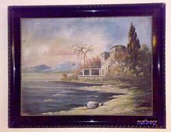Mediterrán öböl, az elveszett paradicsomban, Z. Zalán E. magyar festőművész szignójával.