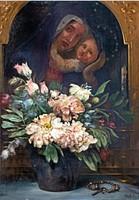 Stark Teréz (1856 - 1946): Pünkösdirózsák háttérben Mária képpel