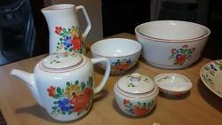 Virágos Gránit kerámiák - kávés készlet, teáskanna és cukortartó, kancsó, tálak,fali tányér, sótartó
