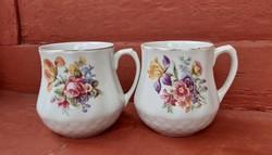 Drasche hasas virágos bögre, pocakos porcelán bögrék ,nosztalgia darab.