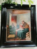 Festmény széles antik fekete keretben Varrogató asszony, jelzett