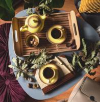 Gránit Kispest sárga-barna mokkás kávéskészlet I. lila-kék halvány jelzéssel - retro porcelán