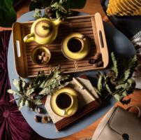 Gránit Kispest sárga-barna mokkás kávéskészlet II. zöld és piros jelzés, retro porcelán eszpresszós