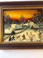 """A. Kowalski (1926 Sopron -) Magyar származású Világhírű naív festőművész  """"Tél"""" Akril-faroston"""