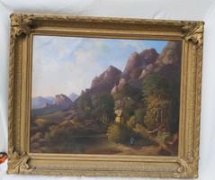 Bidermeier 1847 es festmény Szépművészeti birálati címkével.