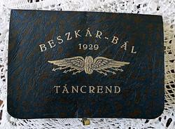 ART DECO BESZKÁR -BÁL TÁNCREND 1929 JANUÁR 19 ( A B.K.V. ELŐDJE VOLT )
