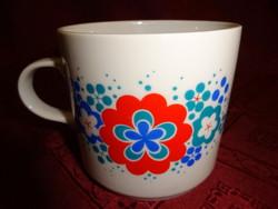 Alföldi porcelán bögre piros/kék/zöld mintával.