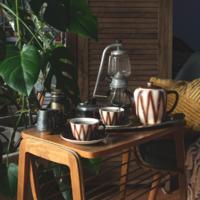 Gránit Kispest teáskészlet, kávéskészlet 4 személyre - retro porcelán kiöntő és csészék