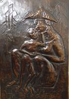 Gyermek régi bronz falikép
