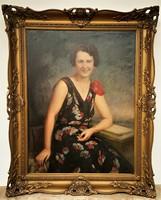 Nagy Vilmos (1874 - 1953) Hölgy virágos ruhában c. olajfestménye 123x98cm EREDETI GARANCIÁVAL !