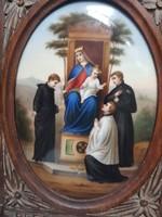 Festett porcelán kép szentkép , XIX. század