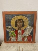 Pál Ferenc retro kerámia falikép.