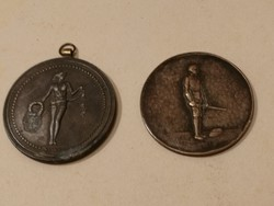 2 db antik érem, bronz/réz, 1900-as évek eleje - ritka darabok és szépek - 1 forintról, garanciával!