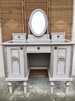 Különleges, egyedi íróasztal vagy pipereasztal, leemelhető tükör résszel ,Teteje üveg lapos