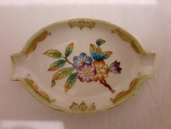 Herendi Viktória mintás porcelán ovális hamutál