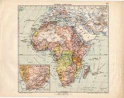 Afrika politikai térkép 1913, eredeti, teljes atlasz, Kogutowicz Manó, régi, Dél - Arfika, politika