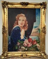 Jancsek Antal (1907 - 1985) Leány rózsacsokorral c. olajfestménye 98x78cm EREDETI GARANCIÁVAL !