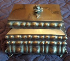 Antik ezüstös hatású magyar ékszertartó doboz
