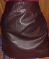 Új luxus csokoládé barna bőr szoknya 100% selyem silk bélés M - L genuine leather luxury skirt