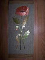 Retro  színes szalmakép : virágok