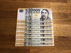 """20000 Forint 2020 """"IC"""" UNC, 7 db sorszámkövető bankjegy"""