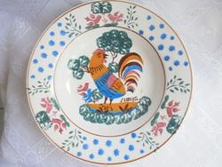 Hollóházi porcelán kakasos falitányér