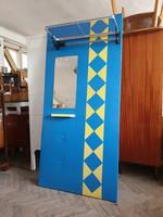 Régi retro műbőr előszobafal mid century tükrös előszoba fogas bútor
