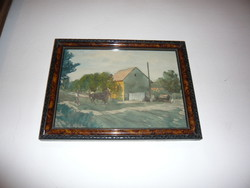 K.Sajó Péter festmény, falusi táj lóval