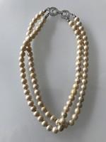 Duplasoros gyöngy nyaklánc különleges kristályos csattal, 39 cm
