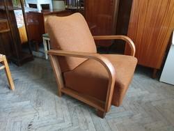 Régi art deco nagy méretű fakarfás vintage fotel