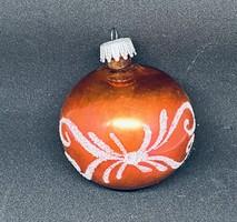 Retro Narancssárga kézzel festett csillámos gömb karácsonyfa dísz