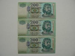 3 DB 200 FORINT EGYBEN: 2001;2002;2006
