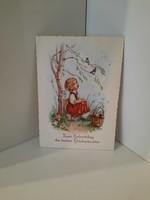Hummel figurás szép régi német képeslap születésnapi jó kívánság.