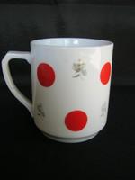 Régi Drasche porcelán piros pöttyös bögre