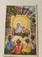 Régi karácsonyi képeslap 1938 jászol angyalos képeslap
