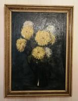 Olajfestmény Virág, asztali csendélet gyüjteménybe, mutatós jó színekkel! Idrànyi Tibor!