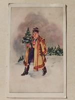 Régi karácsonyi képeslap 1942 népviseletes levelezőlap