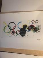 """Jean Michel Basquiat - """"Oympic rings 1985"""" Olimpiai körök Szignó + számozás +bélyegző a táblán"""